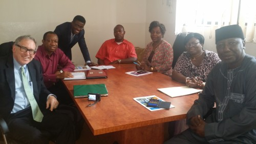 Charlie Brown and Leslie Adogame (left) with officials of the CPC during a recent roundtable in Abuja
