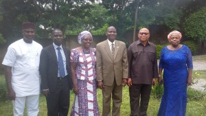National President of the NITP, Dr. Femi Olomola (third from right), with some members of the Board