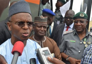 From Left: Kaduna State Governor, Mallam Nasir El-Rufai; Commissioner for Health, Kaduna State, Prof. Andrew Noc; and Comptroller-General of Customs, Dikko Inde Abudullahi, during the commissioning of Customs Hospital Karu, Abuja on Tuesday. Photo credit: Bayoor Ewuoso