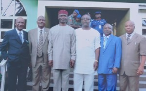 L-R: Dr. C. L. Odimuko (Past President of the NITP), Dr. Femi Olomola (National President of the NITP), Chief Ude Oko Chukwu (Deputy Governor of Abia State), Mr. Lekwa Ezutah (2nd Vice-President of the NITP), Deacon Chibueze Nwaogwugwu (Chairman, Abia State Chapter of the NITP) and Elder O. C. Aguwa (Permanent Secretary, Abia State Ministry of Physical Planning and Urban Renewal)