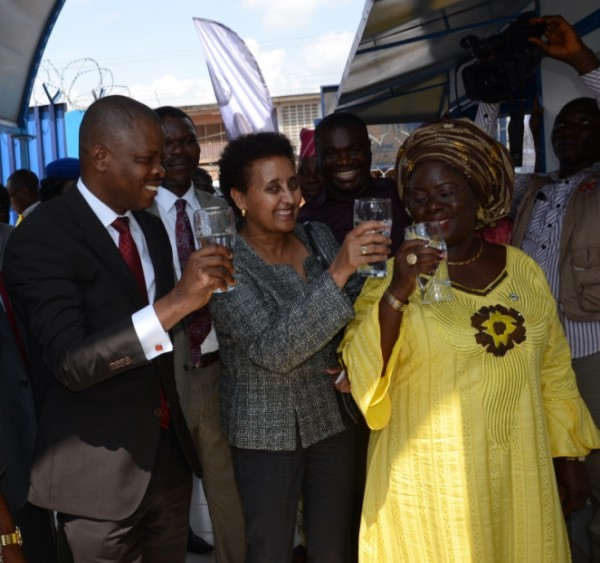 R-L: Corporate Relations Director, Guinness Nigeria Plc, Mr Sesan Sobowale; Ag. Consular General, US Embassy, Mrs Dehab Ghebreab; and the Deputy Governor, Ogun State, Mrs. Yetunde Onanuga, drink water from the newly commissioned Guinness Water Health Centre, Abeokuta