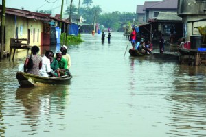 A flooded community. Photo credit: dailypost.ng