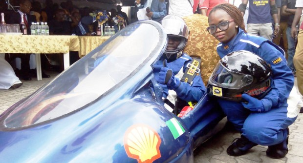 Delta Cruz on display... Students of the Federal University of Petroleum Resources, Effurun, Delta State, demonstrating their self-build energy efficient car on their campus last Thursday in readiness for the 2015 Shell Eco-marathon competition in South Africa, in October.