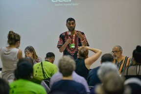 Kumi Naidoo delivers an address... Photo credit: AFP/Mujahid Safodien  Photos: Protest at World Forestry Congress in Durban Greenpeace3