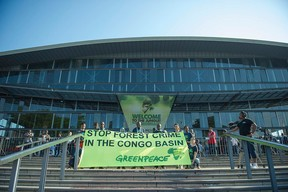 The big banner says it all... Photo credit: AFP/Mujaid Safodien  Photos: Protest at World Forestry Congress in Durban Greenpeace4