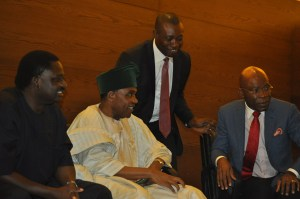 L-R: Special Adviser to the President (Media and Publicity), Mr Femi Adesina; former Chairman, Punch Nigeria Limited, Chief Ajibola Ogunshola; President, Guild of  Corporate Online Publishers (GOCOP), Mr Malachy Agbo; and Chairman, Zinox Group, Mr Leo Stan Ekeh, at the formal launching of GOCOP, held at  Eko Hotel and Suites, Victoria Island in Lagos 22/10/2015.