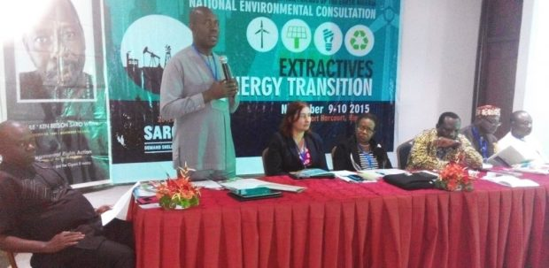 L-R: Dr. Sofiri Joab Peterside, activist and lecturer in the Department of Sociology, University of Port Harcourt; Barrister Iniro Wills, Commissioner for Environment in Bayelsa State; Ms Jagoda Munic, President of Friends of the Earth International (FoEI), Prof Margret Okorodud-Fubara of the Obafemi Awolowo University, Ile-Ife; Dr Godwin Ojo, Executive Director, Environmental Rights Action/ Friends of the Earth Nigeria (ERA/FoEN); Chief Emma Pii, Ogoni leader; and Mr Eguaoje Festus Ikosin, Assistant Director/Global Environment Facility (GEF) Desk Office, Federal Ministry of Environment, at the 8th National Environment Congress of ERA/FoEN… Port Harcourt, River State on Monday, November 9, 2015   Campaigners back solar, wind energy, knock biofuels ERA
