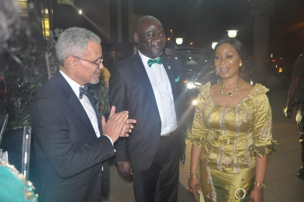 Wife of the Governor, Ogun State, Mrs. Olufunso Amosun (right); NCF Council Member, Mr. Desmond Majekodunmi (left); and a guest during the NCF Green Ball   Photos: NCF discusses reforestation at Lagos Green Ball NCF 2 1024x680