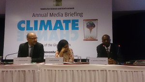 L-R: French Ambassador Francois Richier, CSE Director General Sunita Narain and Zambian Deputy Ambassador to India Sikapale Chinzewe, at the final day of the conference  40,000 delegates expected at COP 21 – French envoy cse india2