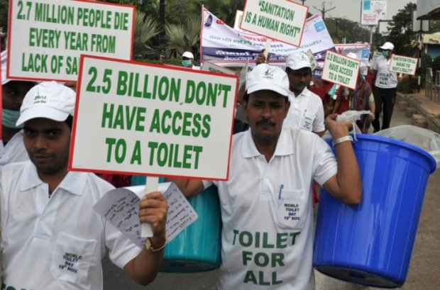 Indians rally in Hyderabad for decent sanitation on the occasion of World Toilet Day. Photo credit: Getty  World Toilet Day: BLF seeks National Toilet Summit world toilet day rally