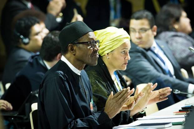 President Buhari with Minister of Environment Mrs Amina Ibrahim Mohammed shortly before addressing the UN Climate Change Conference COP 21, in Paris, France on 30th Nov 2015  Photos: Buhari addresses global leaders at COP21 Buhari 2