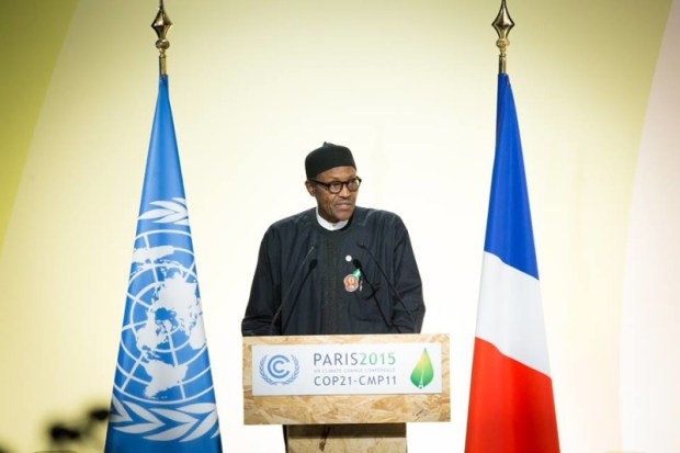 President Muhammadu Buhari of Nigeria addressing the UN Climate Change Conference COP 21, in Paris, France on 30th Nov 2015. Mr President will this week sign the Paris Agreement