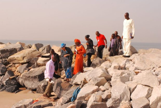 The minister with her entourage at the Eko Atlantic City project site