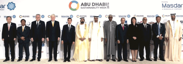 President Muhammadu Buhari (sixth from right) with other world leaders at the opening ceremony of the World Future Energy Summit 2016, as part of Abu Dhabi Sustainability Week (ADSW), at the Abu Dhabi National Exhibition Centre (ADNEC), UAE  Climate solutions explored at World Future Energy Summit, ADSW 2016 1abu