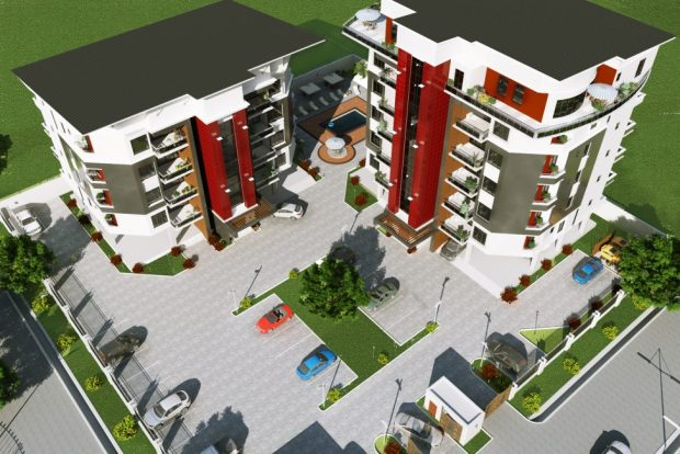 Aerial view of the estate  'Simeon Court' makes a debut at highbrow Oniru Estate in Lagos CAM 3