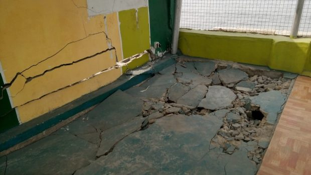Floor and wall failure in a building at Irede