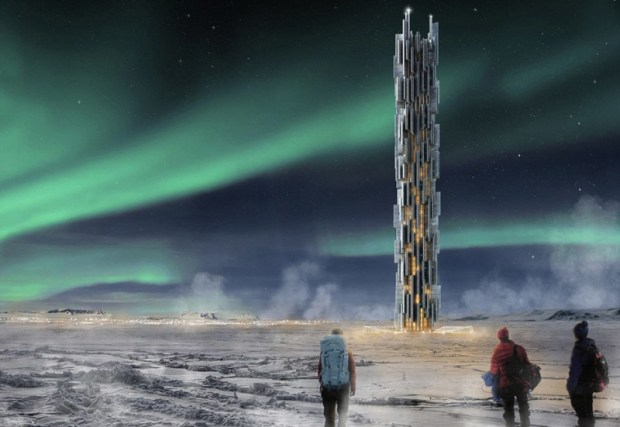 The third place winner is the Data Tower, a conceptual skyscraper in Iceland for web servers