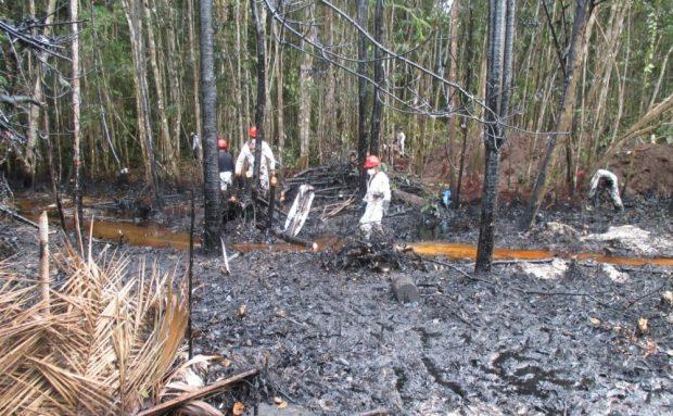 Oil spill site in Mayoriaga
