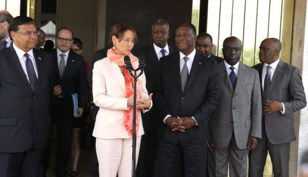 Ms. Royal with President Ouattara Alasane  Photos: Ségolène Royal visits Côte d'Ivoire segol  ne