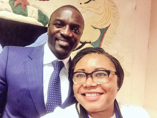 Akon with Ms. Amina Mohammed's aide, Esther Agbarakwe