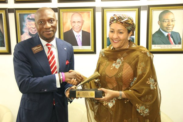 Amina J. Mohammed, the Minister of Environment with the Chief Executive Officer of the Nigerian Stock Exchange (NSE), Oscar Onyema
