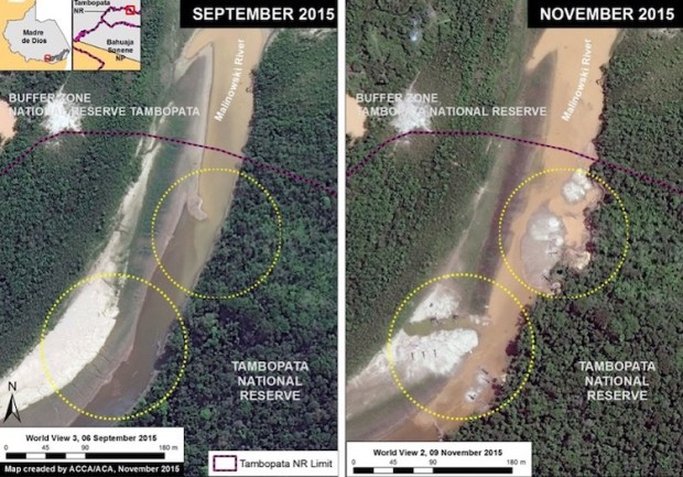 "Tambopata National Reserve, an important protected area in the southern Peruvian Amazon in Madre de Dios. ""One can clearly see the beginning of the illegal gold mining activity and deforestation within the reserve between September (left panel) and November (right panel) 2015,"" MAAP says. Photo credit: Monitoring the Andean Amazon Project (MAAP)"