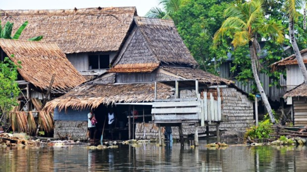 Communities in parts of the Solomom Islands have been forced to move to higher ground as the receding coastline allows seawater to flood their homes