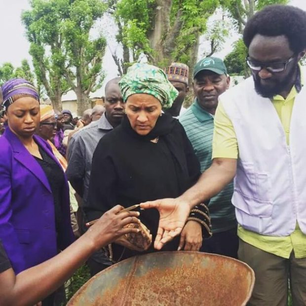 Environment Minister, Amina J. Mohammed, during a visit to the community