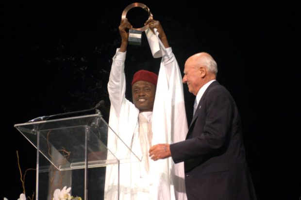 Odigha Odigha with Richard Goldman at the 2003 Goldman Prize ceremony in San Francisco, California