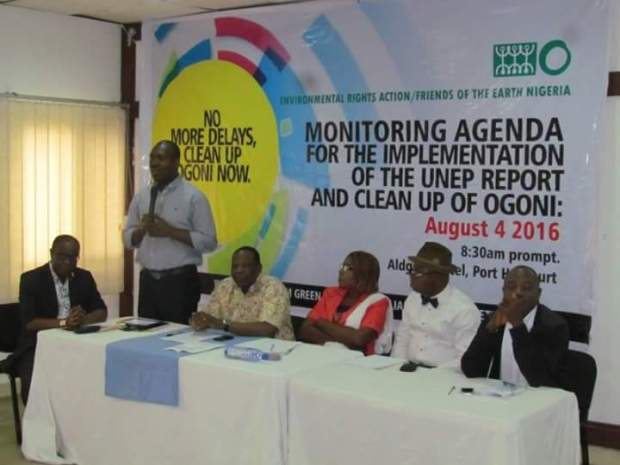 Bayelsa State Commissioner for Environment, Iniruo Willis (standing), Executive Director of ERA/FoEN, Dr Godwin Ojo (sitting by Willis' right), and some other participants at the event