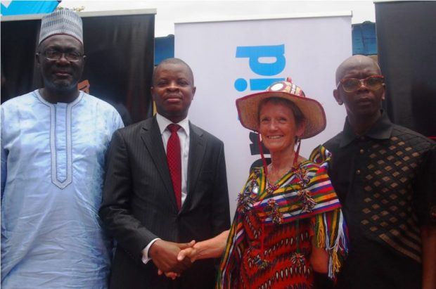 L-R: Country Director, Water Aid Nigeria, Dr. Michael Ojo; Corporate Relations Director, Guinness Nigeria Plc, Mr. Sesan Sobowale; International Chief Executive, WaterAid, Ms. Barbara Frost; and Commissioner for Water Resources, Bauchi State, Alhaji Mohammed Ghali Abdulhameed, at the commissioning of water and sanitation facilities constructed by Guinness Nigeria Plc in Gwam, Bauchi State