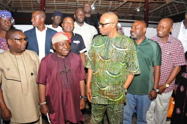 From right: Chief of Staff to Ondo State Governor, Dr Kola Ademujimi; representative of the Minister of Environment, Mr Olayinka Tejuosho; Governor Olusegun Mimiko; Chairman of Technical Panel Review of Federal Ministry of Environment, Funsho Makanjuola; and Secretary to Ondo State Government, Dr Rotimi Adelola.   Images: Environment Ministry's review panel in Ondo SAM 2