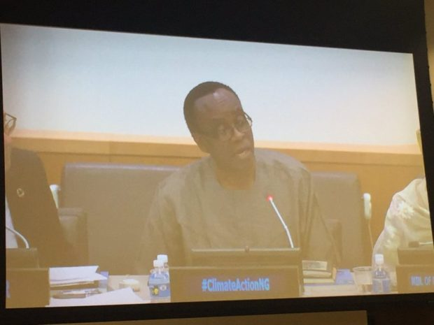 Nnimmo Bassey is captured on the screens as he reflects on climate finance and climate justice at the UNGA side event