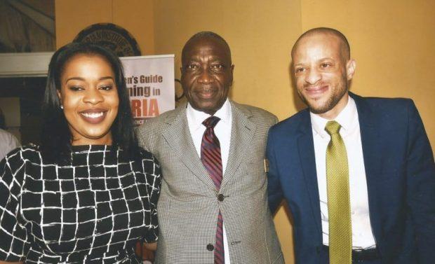 Yacoob Abiodun flanked by Mrs Lola Ashafa (his daughter) and Mr Tosin Ashafa (Lola's husband and son to Senator Gbenga Ashafa)  Images: Abiodun's book launch, 70th birthday Yacoob80002 e1474151583337