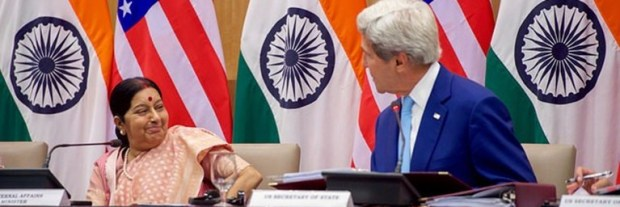 External Affairs Minister of India Sushma Swaraj with U.S. Secretary of State John F. Kerry, during the second India-U.S. Strategic and Commercial Dialogue in New Delhi on 31 August, where both countries reiterated their commitment to implement the climate pact