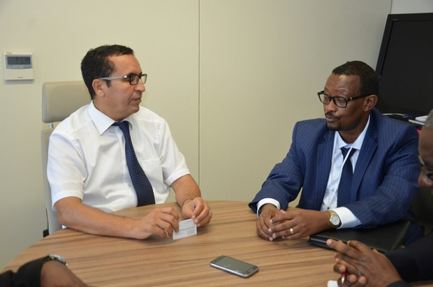 Mohammed El Azizi, Director of the Water and Sanitation department of the AfDB (left), with the AMCOW Executive Secretary, Dr. Canisius Kanangire