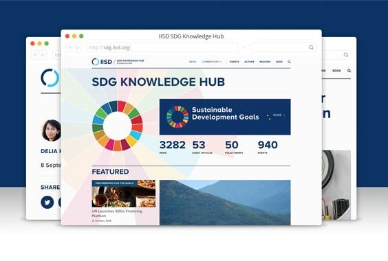 Screen shot of the IISD knowledge hub  IISD launches knowledge hub on SDGs IISD