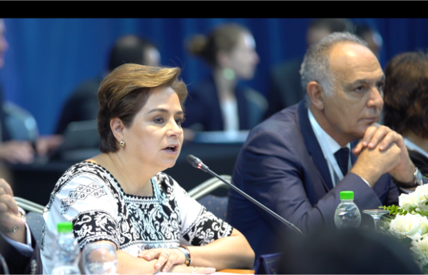 Patricia Espinosa, UNFCCC Executive Secretary (left), and Salaheddine Mezouar, President of COP22 and Minister of Foreign Affairs and Cooperation of the Kingdom of Morocco. Mezouar says 150 countries have so far ratified the Paris Agreement