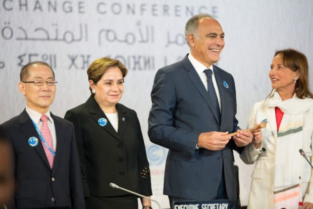 Left to right: Chair of the Intergovernmental Panel on Climate Change Hoesung Lee; UNFCC Executive Secretary Patricia Espinosa; COP 22 President Salaheddine Mezouar; and COP 21 President Ségolène Royal at the opening of COP22 in Marrakesh, Morocco, which officially assumed the COP22 presidency. Photo credit: UNFCCC
