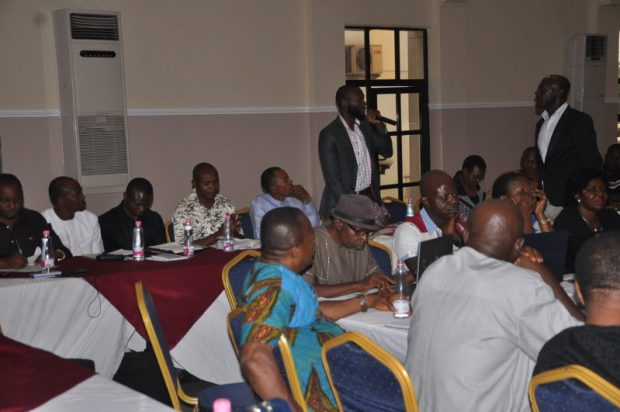 Mr Eje Emmanuel of the Women Environment Programme (WEP) making a contribution  Images: Cross River State REDD+ stakeholder forum DSC 0079 e1480863173289