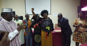 New Chair of  AFSA, Mariann Bassey Orovwuje, with the African Shield to protect and defend the continent