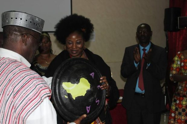 Mariann Bassey Orovwuje receives the Shield  Images: Mariann Bassey Orovwuje emerges new Chair of AFSA image003 e1480973273996