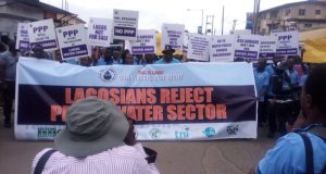 Lagos-water-protest  Activists accuse Lagos of being untruthful over water privatisation plans IMG 20170322 093355 e1490205082168