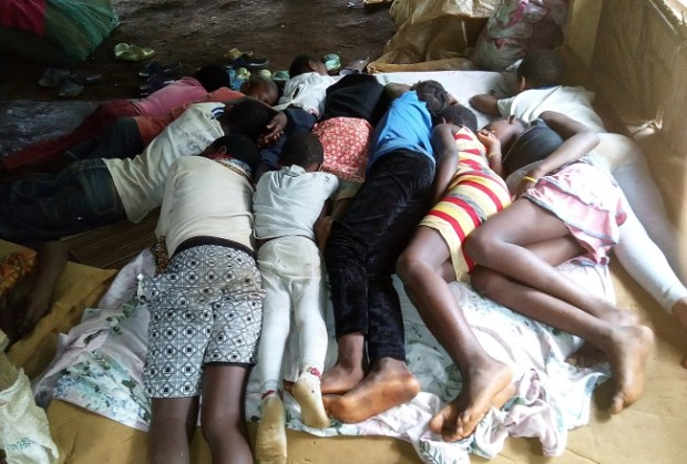 Anglophone Cameroon uprising  Anglophone Cameroon uprising: Horror of a war the world ignores 11 children squeeze in a mattress in a delipadating tent of the IDP in the bush in Nake village