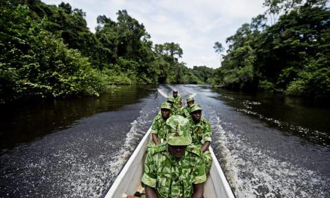 Guards on anti-poaching patrol in Gabon.