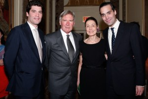 Alejandro and Andres Santo Domingo, their mother, and Harrison Ford at the CI dinner. Image: CI