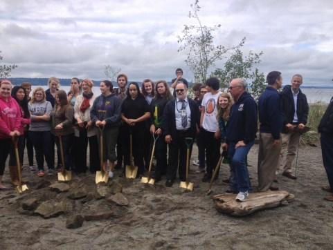 Supporters attend an event to celebrate the Burien Seawall Removal and Beach Restoration Project in 2013.