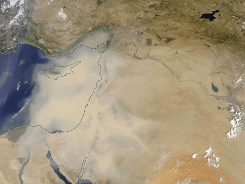 A massive sandstorm in Syria was caused by climate change, not the ongoing conflict in the area as previously suggested.