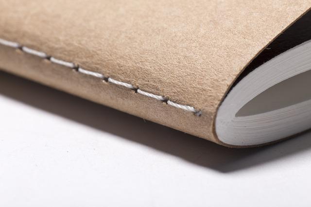 Corner of a bound note book