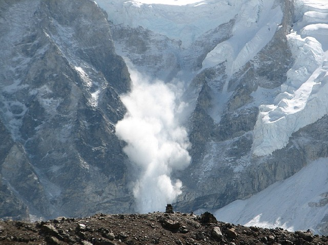 Avalanche running down Mt. Everest